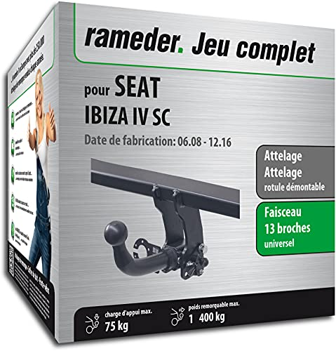 Rameder Pack, attelage rotule démontable + Faisceau 13 Broches Compatible avec Seat Ibiza IV SC (162376-07567-1-FR)