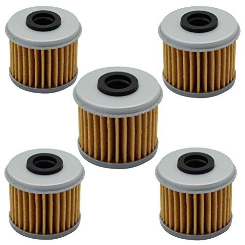 cyleto Filtro de aceite para trx450er trx450 er 2006 - 2009 2012 - 2014 (Pack de 5)