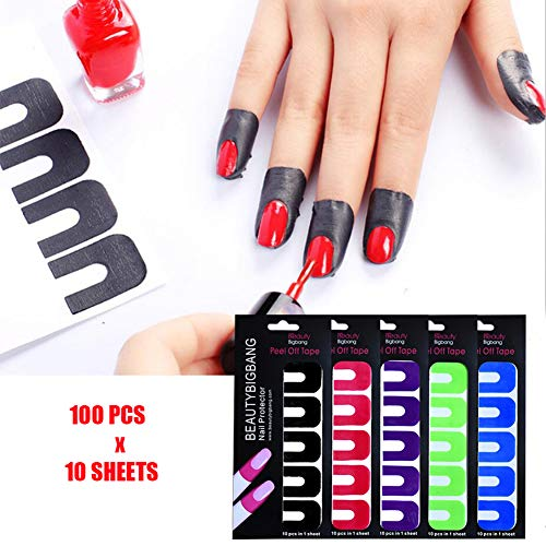 BEAUTYBIGBANG Plastic Nail Polish Protector - 10 Sheets 100 Piece Disposable Peel Off Sticker U-Shape Tape for Nail Art Painting Stamping Manicure Tool