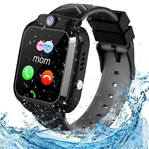 Montre Connectée Enfant LBS Tracker Étanche Enfant Smartwatch Montre Téléphone Réveil Math Jeu Caméra Cadeau d'anniversaire pour Enfants Compatible avec iOS/Android (Noir)