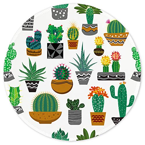 ITNRSIIET Mouse Pad, Cute Cactus with White Design Round Mousepad. Customized Gaming Mousepads for Laptop and Computer. Cute Design Desk Accessories. Non-Slip, Stitched Edges, Waterproof