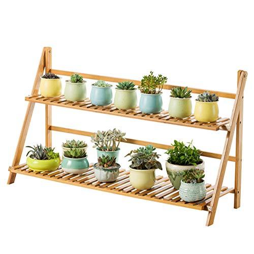 GWM Pliable, Support de Fleurs, en Bois Massif Double Couche Protection de l'environnement Roulement Solide Simple Balcon de Salon Palier intérieur Bamboo Support de Fleur Étagère (Taille : 50CM)