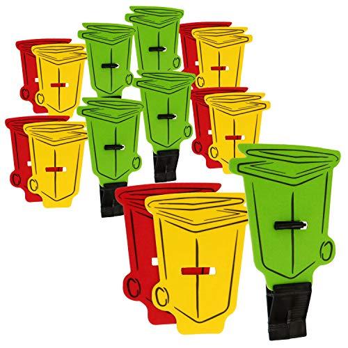 COM-FOUR Deodorante per ambienti 15x per bidoni della spazzatura con supporto autoadesivo - albero profumato in 3 diversi profumi - odore di limone, lime, mela