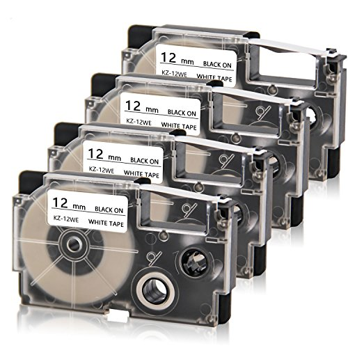 """Absonic Compatible Label Tape Replacement for XR-12WE for Casio KL-100 KL-120 KL-60 KL7000 KL7200 KL-750B KL-780 KL-8100 KL-P1000 KL-2000 EZ Label Maker, 1/2"""" x 26', 12mm x 8m, Black on White, 4-Pack"""