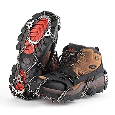 SHARKMOUTH Ice Cleats Crampons Traction, Ice Snow Grips for Boots Shoes, Anti Slip 19 Stainless Steel Spikes and Durable Silicone, Safe Protect for Walking, Jogging, Climbing or Hiking on Snow and Ice