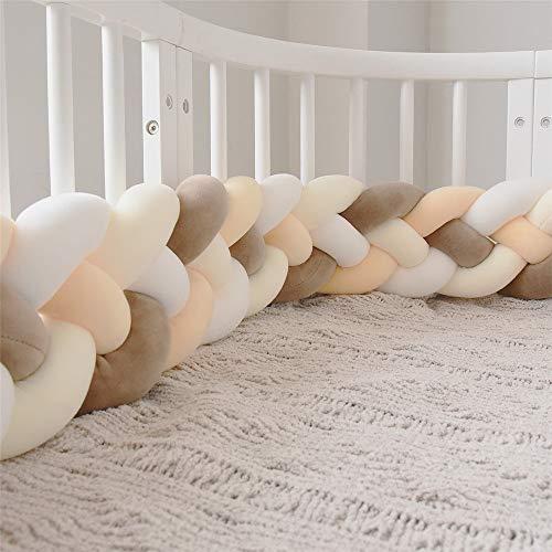 Culla Paraurti Treccia Cuscino Baby Head Guard Bumper Knot Cuscino Treccia Cuscino Per Lettino (Color : M-whi+white+l-brown+beige, Size : 220CM)