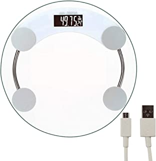 BTYAY Electronic Scales Precision Smart Scales Bathroom Household Round Tempered Glass (Color : A)