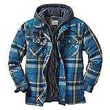 Shujin Chaqueta a cuadros para hombre, chaqueta de invierno forrada a cuadros, abrigo cálido con capucha de manga larga, forro interior térmico, camisa de leñador azul XL