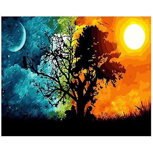 TAHEAT DIY Malen nach Zahlen Kit für Erwachsene Anfänger, Bunte Landschaftsmalerei nach Zahlen auf Leinwand DIY Acrylmalerei 16x20 Zoll - Sonne und Mond Baum ohne Rahmen