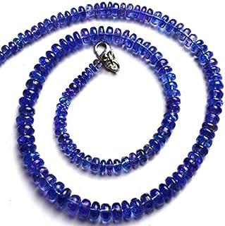 Jaipur Gems Mart Piedras Preciosas de tanzanita Natural de 5 a 8 mm, Cuentas de rondelle Suaves de 16 Pulgadas, hebra Comp...