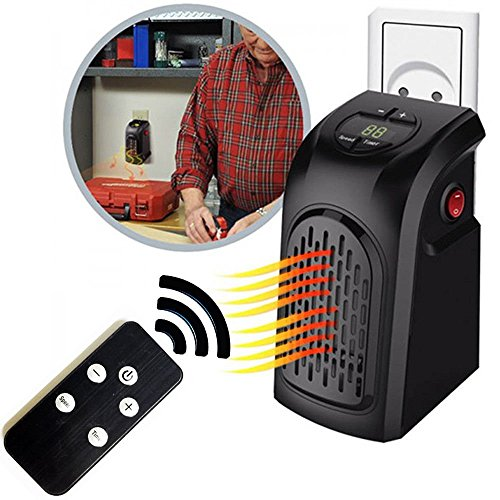 takestop® Nieuwe versie elektrische verwarming 400 W mobiele telefoon notebook met afstandsbediening stekker verstelbaar heater 15 tot 32 graden laag energieverbruik badkamer huis kantoor