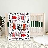 Personalized Blanket- Firetruck Name Blanket, Baby Boy Firefighter Personalized Blanket, Fireman Red Black Fire Truck Nursery Bedding, Baby Gift, Best Gift for Family 39