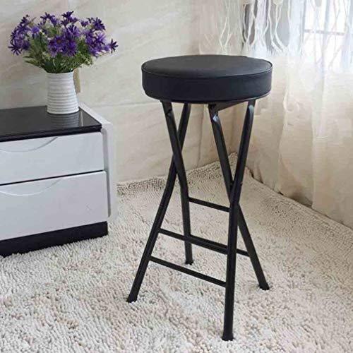BYCSD Compact Ronde PU Gecapitonneerde Vouwstoel, Metalen Barkruk, Binnen Buiten, Zwart/wit
