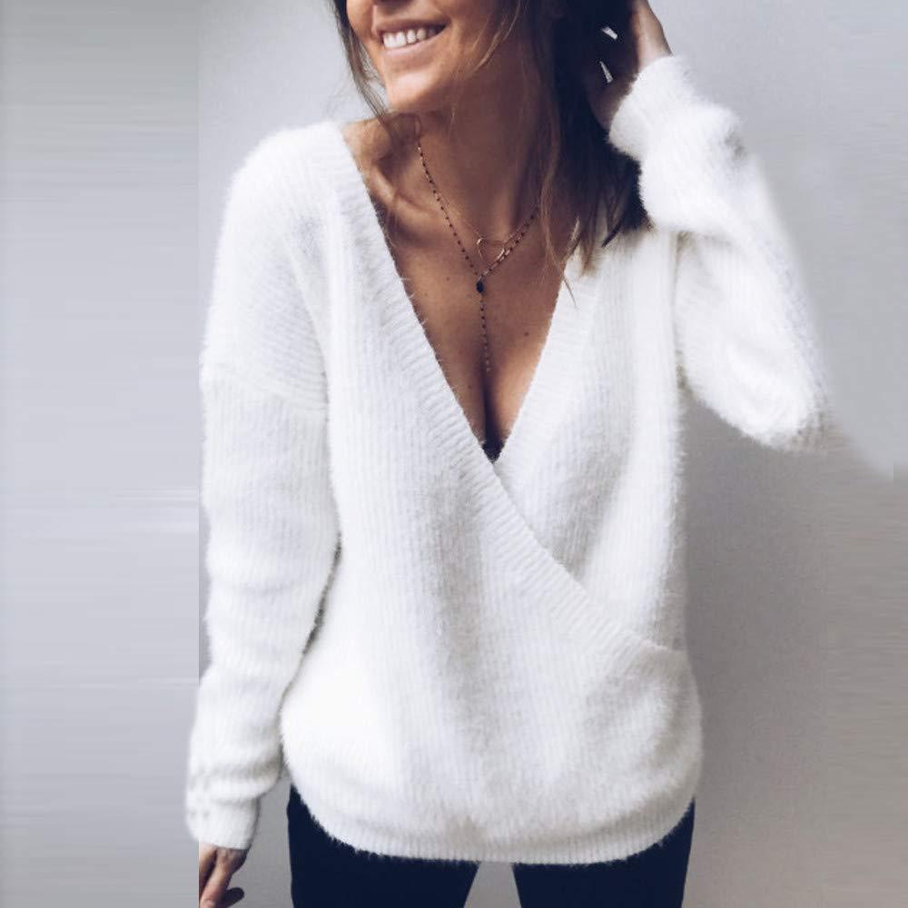 2018 Liquidación Suéter de Punto para Mujer, Sexy Profundo Escote ...