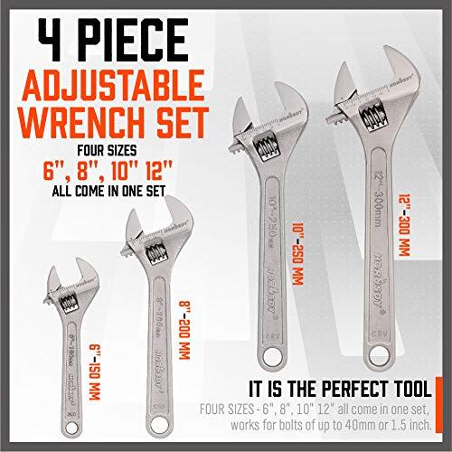 HORUSDY 4-Piece Adjustable Wrench Set, CR-V Steel crescent wrench set, 6-inch, 8-inch, 10-inch, 12-inch