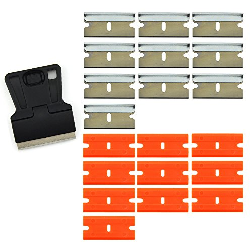 FOSHIO 1.5 Inch Mini Razor Blade Scraper with 10PCS Carbon Steel Razor Blades and 10PCS Safety Double Edge Plastic Razor Blades for Removing Old Vinyl and Window Glass Cleaning