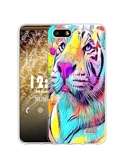 Sunrive Cover Compatibile con Honor 4C/Huawei G Play Mini, Custodia Case in Molle Trasparente Silicone Morbida Flessibile AntiGraffio Protettiva Back custodie(Q Tigre Colorata)