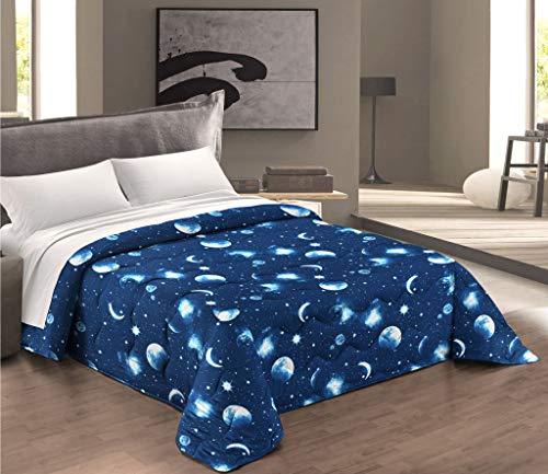 Biancheria Store Trapuntino Estivo Singolo Luna Cosmo Stelle 1 Piazza 160 x265 cm Microfibra Lavabile in Lavatrice