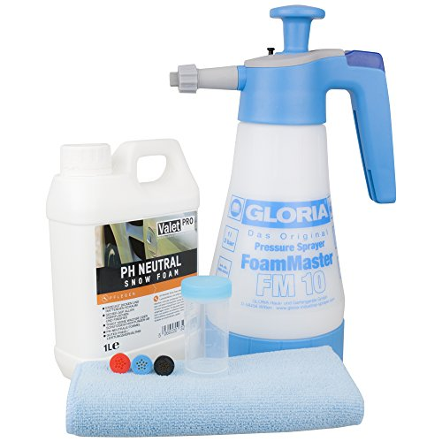 Gloria Foam Master FM10 + ValetPRO Neutral Snow Foam 1 L inkl Messbecher & DFT Microfasertuch
