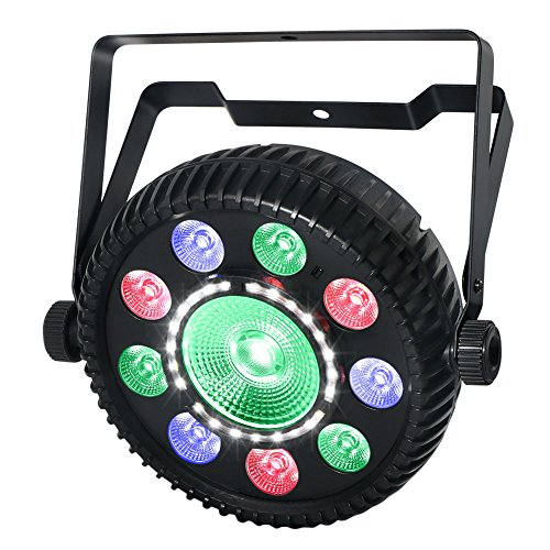 LaluceNatz 80W RGBW Par Light with Center COB LED Wash Light and Strobe SMDs by IR Remote DMX Control for Disco Club Birthday Party Stage Lighting
