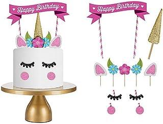 1 Set Unicorn Birthday Cake Topper Flower Eyelashes Happy Birthday Party Cake Decor Set Handmade Baby Children Party Decor...
