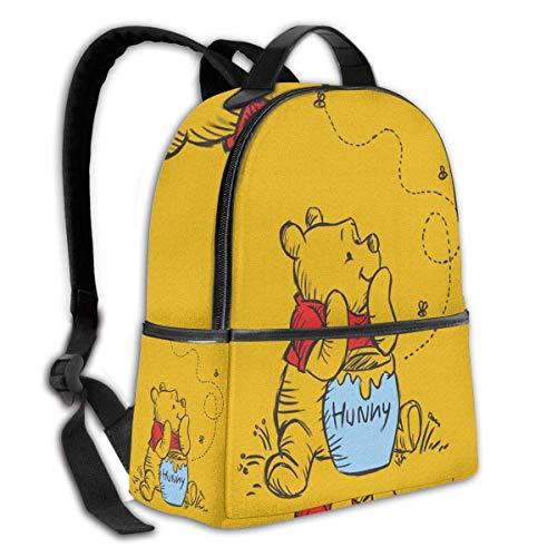 Adhyr Winnie l'ourson Sac à Dos Noir Sac d'école à...