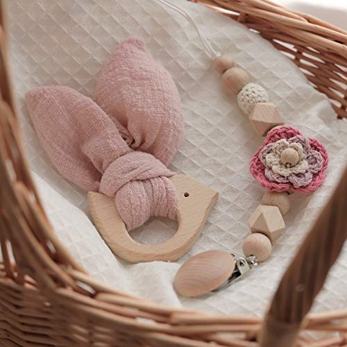 Mamimami Home 2pc Holz Beißring Kaninchen Ohrringe Sensory Balls Schnuller Kette Baby Spielzeug