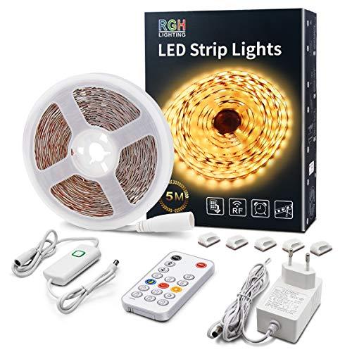 LED Leiste Warmweiß 5M Dimmbar LED Streifen mit RF Fernbedienung 3000K Hell Plug-in Unterbauleuchten mit Timing Modus LED Lichtband Komplette Kits für Schlafzimmer Küche Zimmer Dekor