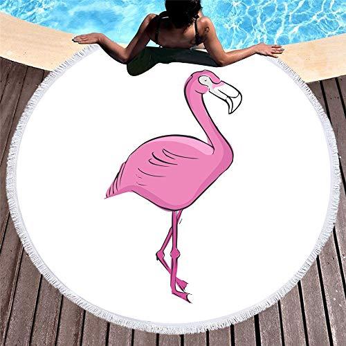 nobrand Strandtuch runde Yogamatte Rundes Strandtuch Mikrofaser Hellroter Flamingo Schnelltrocknend Saugstark Weich Sand Proo