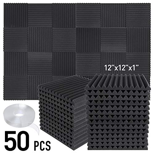 Focusound 50 Packs Acoustic Foam Panels Wedge Soundproof Studio Wall Tiles Sound Absorbing with Double Side Adhesive Tape, 1' X 12' X 12', Black
