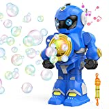 Bubble Machine Bubble Blower - Auto Robot Bubble Maker, Music & Light, Robot Bubble Toys with Bubble Solution & Lanyard,...