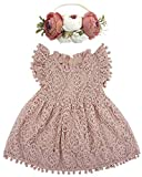 BGFKS Baby Girl Tutu Dress Elegant Lace Pom Pom Flutter Sleeve with Flower Headband Set(Dusty Rose,2T)