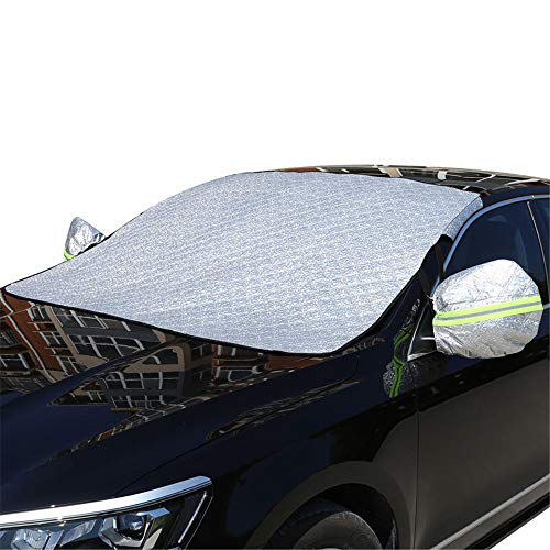 YQ&TL Car Windscreen Frost Cover with Side Mirror Cover, Windshield Protector Ice Cover 4 Layers Windshield Snow Cover Ice Sun Front Window Protection Magnetic Winter Car Cover A Off