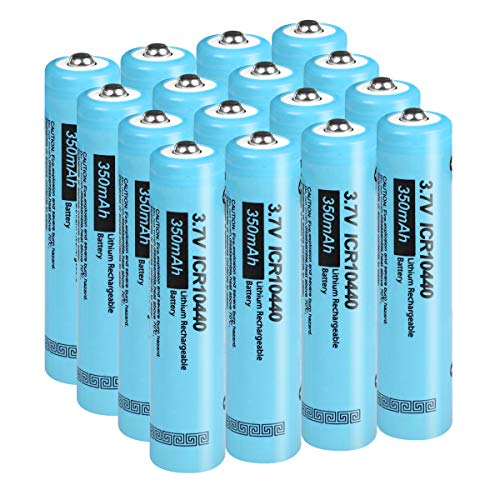 AAA Size 3.7V 350MAH ICR10440 Lithium Ion Rechargeable Battery (16pc Button top)