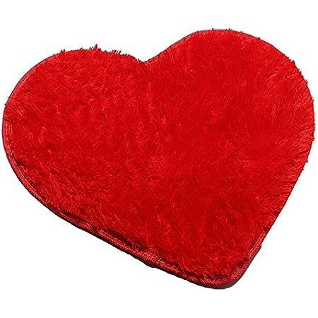 Mudder Tappeto Forma di Cuore Valentine Tappetino Decorativo Amore Tappetino Doccia Cuore Shag Zerbino Lavabile Antiscivolo Tappeto dIngresso per Divano Pavimento Bagno Rosso 20 x 24 Pollici