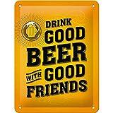 Nostalgic-Art Cartel de chapa retro Drink Good Beer – Idea de regalo para los amigos, metálico,...