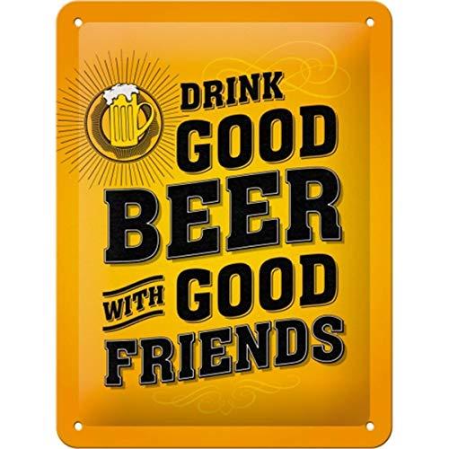 Nostalgic-Art Retro Blechschild Word Up – Drink Good Beer – Geschenk-Idee für Bier-Liebhaber, aus Metall, Vintage-Design mit Spruch, 15 x 20 cm