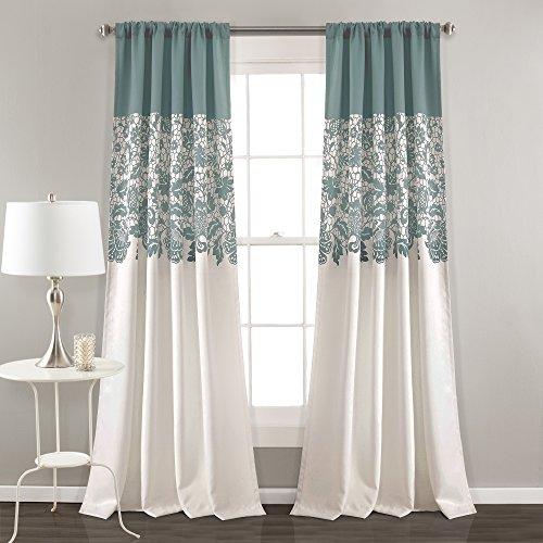 "Lush Decor Estate Garden Print Curtains Room Darkening Window Panel Set for Living, Dining, Bedroom (Pair), 84"" x 52"", Blue"