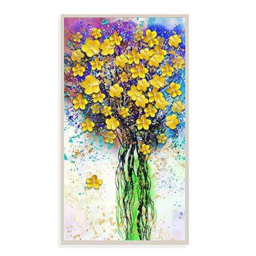 DIY 5D Diamante Pintura Kits Flores amarillas talla grande Diamond painting por Número Kit Rhinestone Bordado de Punto de Cruz Artes Manualidades Lienzo Pared Decoración Regalo mosaico 80x180cm