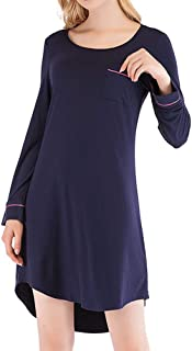 ANCHOVY Womens Sleepshirt Long Sleeve Nightwear Boyfriend Pajama Dress with Pockets P11