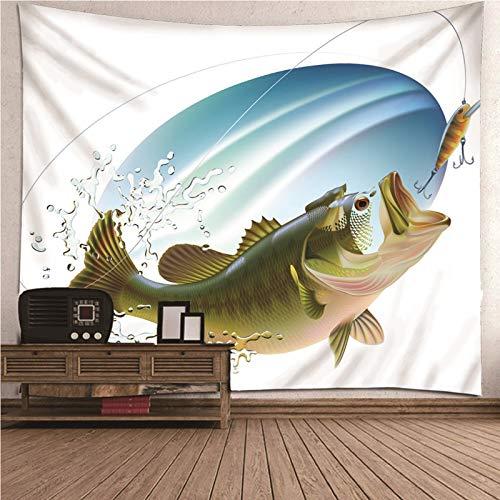 Beydodo Tapiz Pared Decoracion Salon Pescado con Gancho Verde Blanco,Tapiz Tela Pared Poliéster Talla 200X200CM