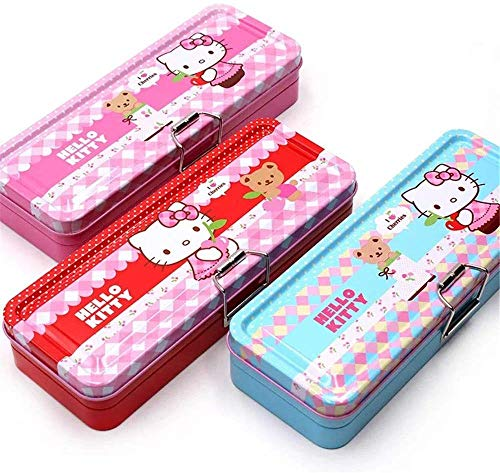 Hello Kitty Girl Pencil Tin Box Two Layer Cute Cartoon Pencil Case for Student Kid (Pink)