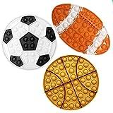 QETRABONE Fidget Toys Pack - 3 Pièces Pop Bubble Fidget Sensory Toy Jouets Anti-Stress pour la Concentration et Le Calme Fidget Toy Pack pour Enfants et Adultes (Basket + Football + Rugby)