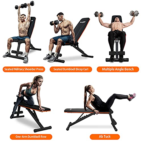 Yes4All Adjustable Weight Bench / Utility Weight Bench with Foldable Design - Multi-purpose Flat/Incline/Decline Bench for Home Gym (Orange)