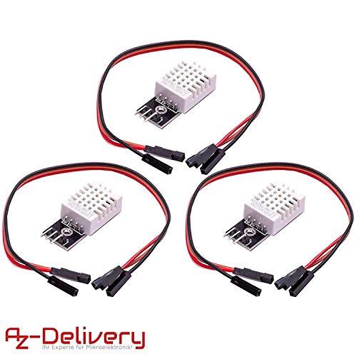 AZDelivery 3 x DHT22 AM2302 Capteur de température et d'humidité avec câble pour microcontrôleurs Arduino et Raspberry Pi y compris un eBook