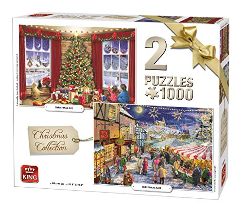King International 5811 Jigsaw Pieces 1000 delen 2 puzzels Christmas Collection, Multi
