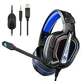 Fachixy Auriculares Gaming para PS4,PS5, PC, Xbox One, N-Switch,Tableta Laptop, Cascos Ruido Reducción de Diademas Cerrados Profesional con Micrófono Limpio Sonido 3.5mm,Iluminación RGB (Azul)