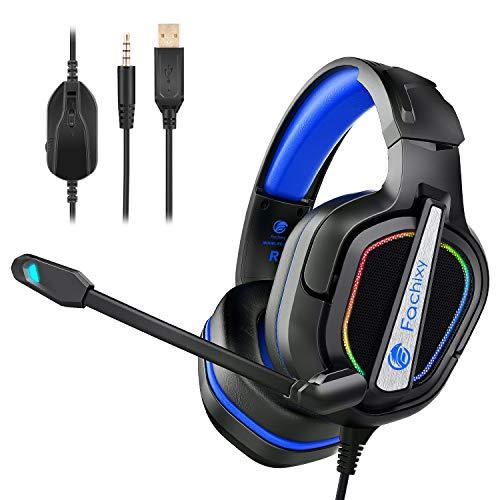 Fachixy Auriculares Gaming para PS4/PS5/PC/Xbox One/N-Switch, Cascos Gaming Cancelación de Ruido, Cascos con Microfono Estéreo Sonido, Cascos PS4 con 3.5mm Jack con Luz RGB(Negro Azul)