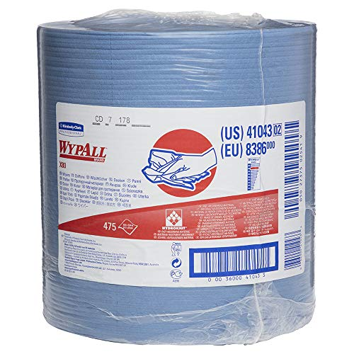 WypAll  KCC41043 X80 Reusable Wipes Extended Use Cloths Jumbo Roll Blue 475 Sheets / Roll 1 Roll / Case