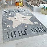 Paco Home Alfombra Habitación Infantil Moderna Lavable Estrella Adorable Frase Gris Blanco, tamaño:120x160 cm
